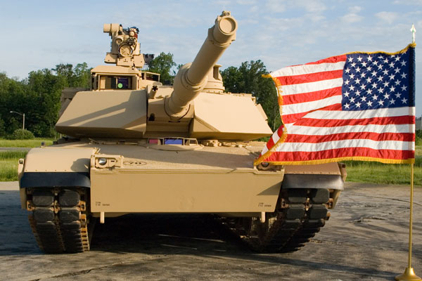 M1-A1 Abram Tank in front of Amercan Flag