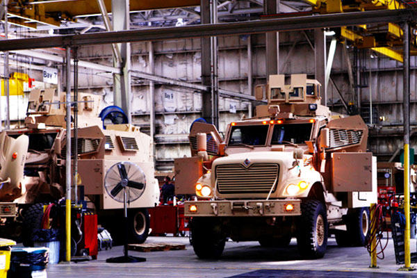 Tactical vehicles in production.