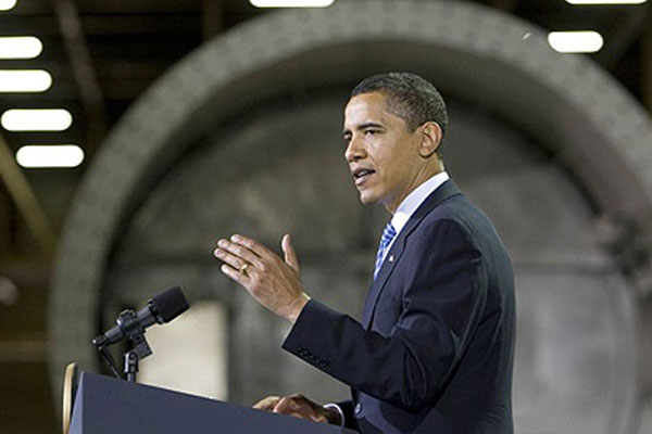 President Obama announcing Newton as the location of renewable energy policy.